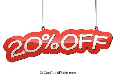 red vector illustration - background tag twenty percent discount