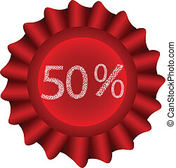 Red Vector Label-50%