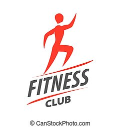 Red vector logo man running for fitness club