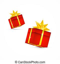 Red Vector Present Box, Gift Box Set