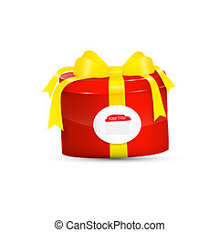 Red Vector Present Box, Gift Box with Yellow Ribbon