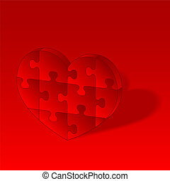 Red vector puzzle heart