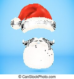 Red vector Santa's hat, beard and mustaches
