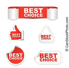 red vector set paper stickers best choice