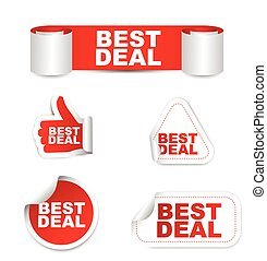 red vector set paper stickers best deal