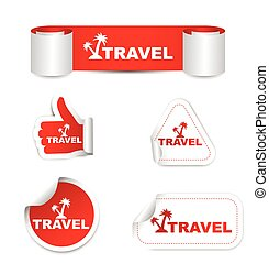 red vector set paper stickers travel