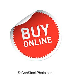 Red vector sticker and text BUY ONLINE