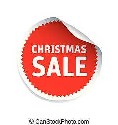 Red vector sticker and text Christmas Sale. Vector Illustration.