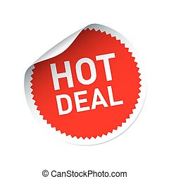 Red vector sticker and text HOT DEAL