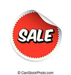 Red vector sticker and text SALE.