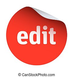 Red vector sticker with text edit