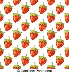 Red vector strawberries seamless pattern