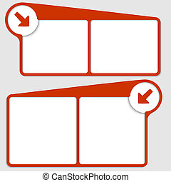 red vector text frame with arrow