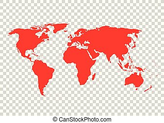 Red vector world map on grid background. Vector illustration.