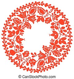 Red vector wreath isolated on white