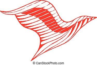 Red Vectorized Ink Sketch of Eagle Illustration