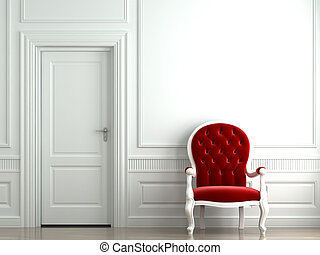 red velvet armchair on white wall