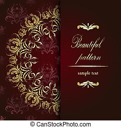 Beautiful golden floral pattern calligraphy on red velvet background with text