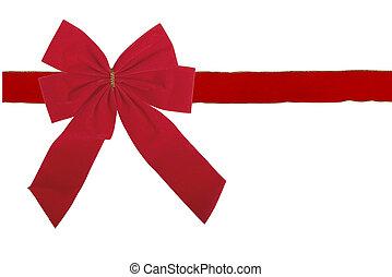 Red velvet bow and ribbon isolated on white