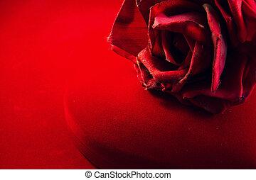 Red velvet box with rose