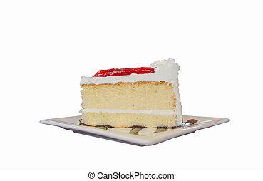 Red velvet cake isolated on white background