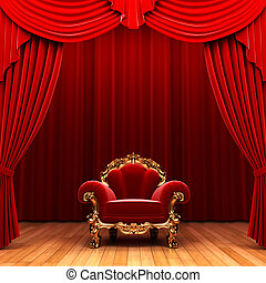 Red velvet curtain and chair made in 3d