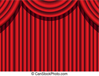 red velvet curtain of a theatrical event, vector illustration