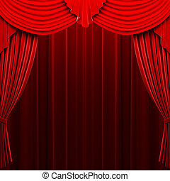 Red velvet curtain opening scene made in 3d