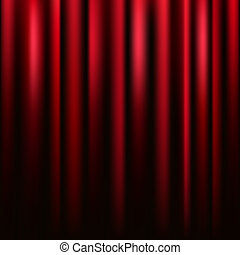 Red velvet curtain vector square texture.