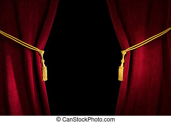Red velvet curtain with tassel. Close up black isolated...
