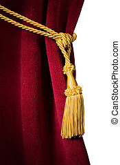 Red velvet curtain with tassel. Close up white isolated curtain
