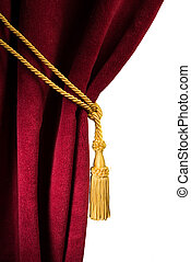 Red velvet curtain with tassel. Close up white isolated...