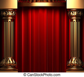 red velvet curtains behind the gold columns