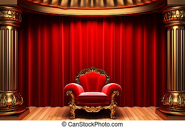 red velvet curtains, gold columns and chair
