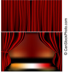 Red Velvet Curtains - Gradients meshes used. Closed and open...