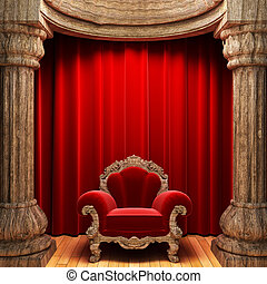 red velvet curtains, wood columns and chair