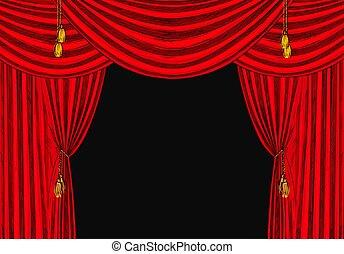 red velvet drapes with gold tassels, black bg