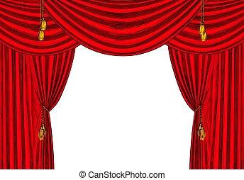 Red velvet drapes with gold tassels, white bg
