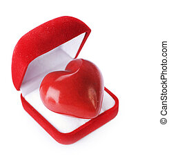 Red velvet Gift Box with a heart on a white background. Valentin