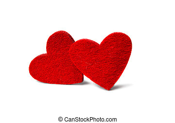 Red velvet hearts isolated on white background