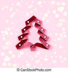 Red velvet ribbon with pearl beads in the form of a Christmas tree.