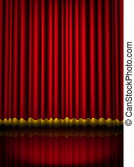 Red velvet theater stage curtain with golden border. Vector...