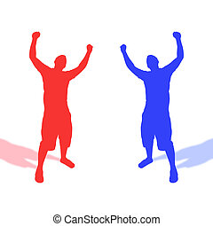 Red Versus Blue - Opposing silhouettes of a man throwing his...