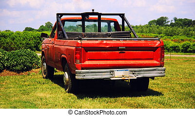 Red vintage american truck