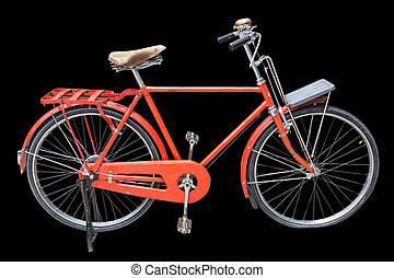 Red vintage bicycle isolated on black. Saved with clipping path