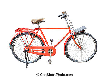 Red vintage bicycle isolated on white