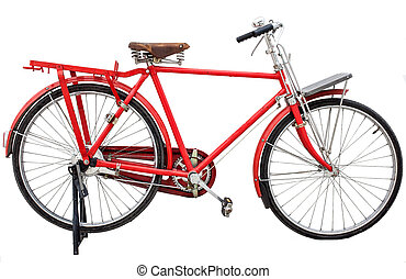 red vintage bicycle isolated on white background