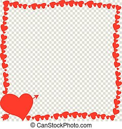 Red vintage border made of hearts with arrow pierced heart silhouette isolated