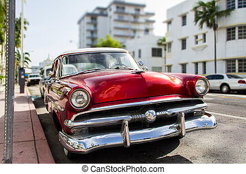 Red vintage car.