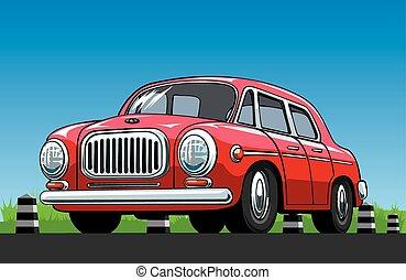 Red vintage car on the blue sky background